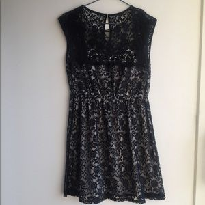 Ultra Pink size S black lace dress nude lining